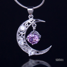 Wholesale 925 Pendant Moon - Wholesale 925 Sterling Silver Pendant For Necklace 25x20mm Amethyst Cute Moon Dangle Fashion Women Girl Lady Fit Jewelry DIY Making SD501