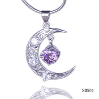 Wholesale 925 Sliver Amethyst Moon Charms Pendant Fit Women Girl Necklace Jewelry Making SD501