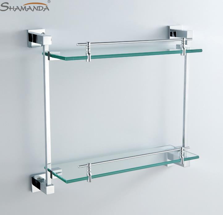 2017 Double Bathroom Shelf Glass Shelf Brass Made With Chrome