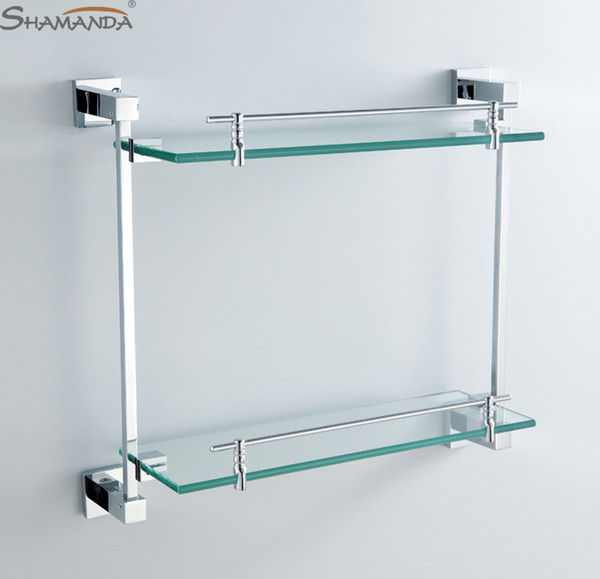 Grosshandel Doppeltes Badezimmer Regal Glas Regal Messing