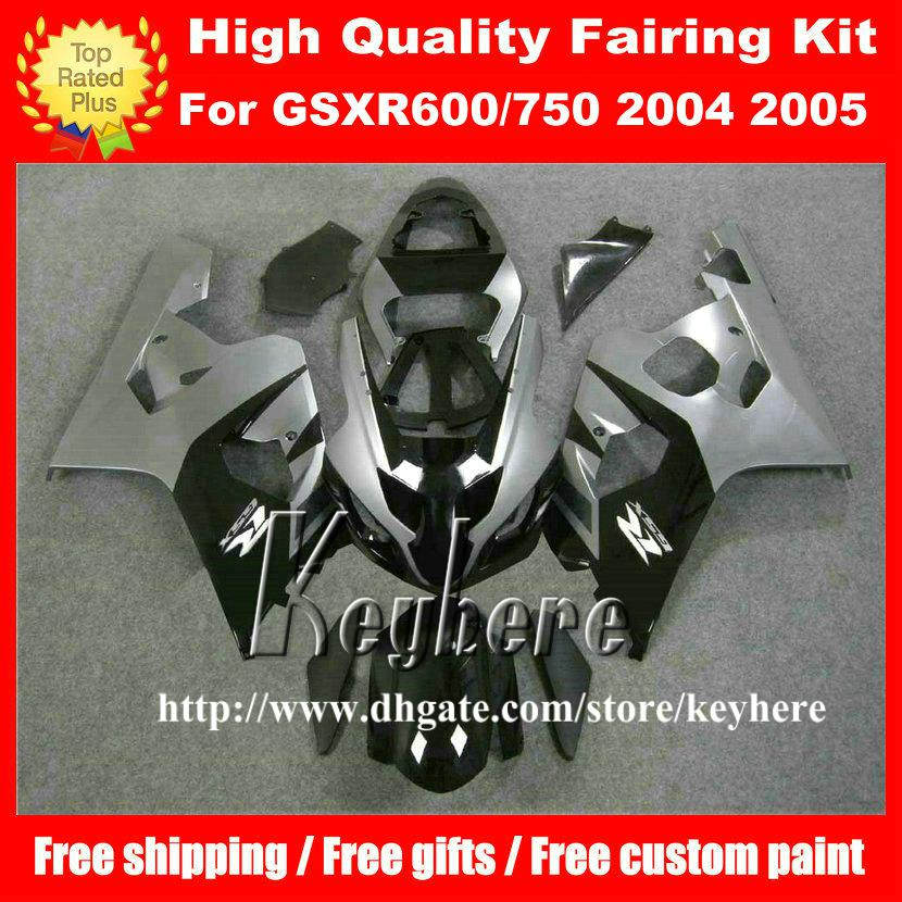 Free 7 gifts custom fairing kit for SUZUKI GSXR 600 750 04 05 GSXR600 R750 2004 2005 K4 GSXR600 fairings G7u hot sale black gray motorcycle