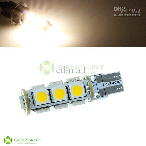 T10 13 SMD 5050 LED se calientan / blanco / amarillo / rojo / azul se enciende 185LM bombillas W5W 12V 168 194 912 921 50PCS / LOT