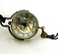 "Wholesale Steampunk Glass Ball Pocket Watch - 10pcs lot Steampunk Brass Glass Ball Mechanical Pocket Watch Necklace Chain Dial 1.18"", Chain 31.5"" PW017"