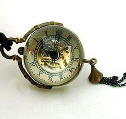 "Wholesale Ball Watch Steampunk - 10pcs lot Steampunk Brass Glass Ball Mechanical Pocket Watch Necklace Chain Dial 1.18"", Chain 31.5"" PW017"