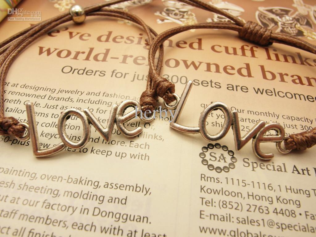 Regalo dell'amante del braccialetto di collegamento della lettera di amore di fascino dei gioielli di modo