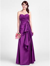 Wholesale High Quality Purple Satin Strapless Party Dresses Prom Dress Evening Dresses Pageant Dress Cocktail Dress Custom Size HP624198