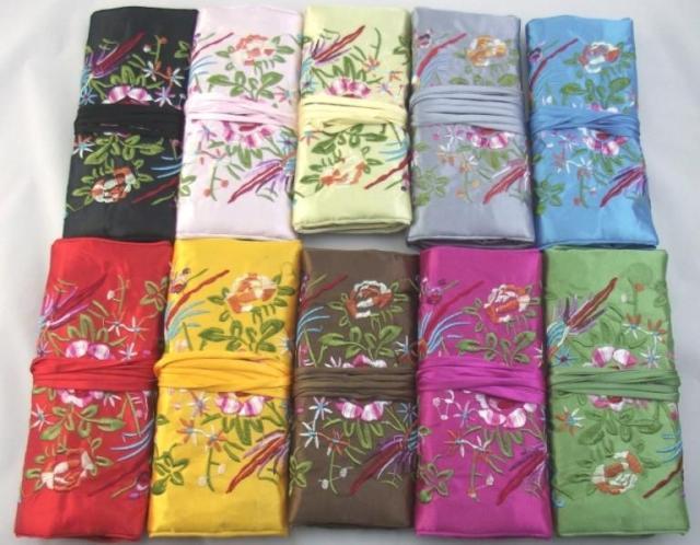 Haft wielofunkcyjny Kwiat biżuteria Bird Travel Roll Up Torba Pakiet Bawełna Wypełniona Jedwabna Tkanina Comestic Makeup Packaging Torebka