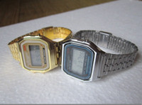 Wholesale Photoelectron Watches - Gold and silver F-91W watches f91 fashion -thin LED change photoelectron watches sport watch
