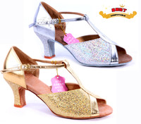 Wholesale Women s Latin dance shoes adult female Latin shoes dance shoes gold and silver fish scale Gifts Christmas ornaments