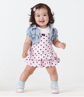 Wholesale Girls Pcs Dress Jacket - Children's summer Girls Baby Denim Jacket+Love Dress 2 pc set.