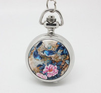 Wholesale Enamel Pocket Watches - promotion (10pcs lot) singin birds and flowers Enamel pocket watch necklace,silver watch face. 27*27mm,chain length : 80cm
