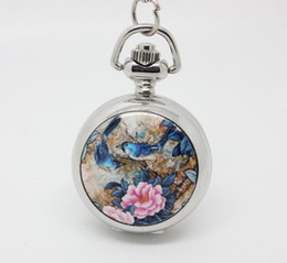 Wholesale Enamel Flower Pocket Watch - promotion (10pcs lot) singin birds and flowers Enamel pocket watch necklace,silver watch face. 27*27mm,chain length : 80cm