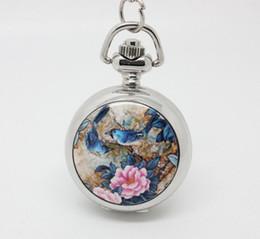Wholesale Enamel Pocket Watches - promotion (10pcs lot) singin birds and flowers Enamel pocket watch necklace,silver watch face. 27*27mm,chain length : 80cm