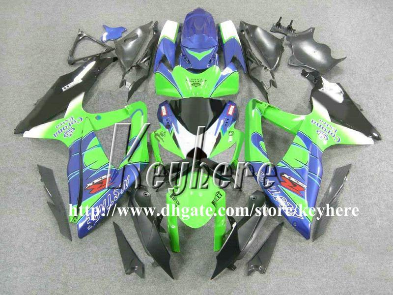 Grátis kit de carenagem para corrida de 7 presentes para SUZUKI GSXR600 R750 08 09 10 GSXR 600 750 2008 2009 2010 carenagens K1 G1k Corona azul verde parte da motocicleta
