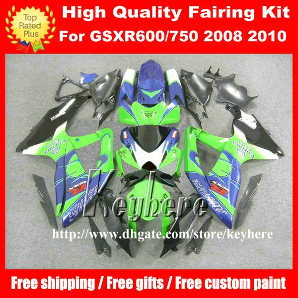 Kostenlose 7 Geschenke Rennverkleidung Kit für SUZUKI GSXR600 R750 08 09 10 GSXR 600 750 2008 2009 2010 K8 Verkleidungen G1k Corona blau grün Motorrad Teil