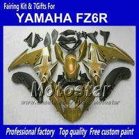 yamaha fz6r için fairing toptan satış-YAMAHA FZ6R FZ 6R için motosiklet marangozluğu FZ-6R ile parlak tozlu glod siyah fairing vücut kiti 7 hediyeler NN91