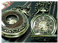 Wholesale Skeleton Watch Necklace - Antique Unisex Skeleton Mechanical Copper Pendant Pocket Watch Necklace Chain