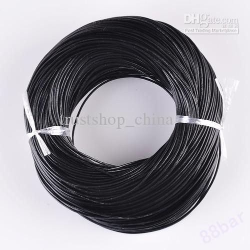 100 Meters 2mm Black Round Leather Cords Wire 100/% Genuine Thong
