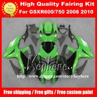 Wholesale Gsxr Race Bodywork - Free 7 gifts race fairing kit for SUZUKI GSXR600 R750 08 09 10 GSXR 600 750 2008 2009 2010 K8 fairings G4k green black motorcycle bodywork