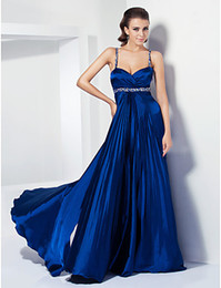 Wholesale High Quality Blue Satin Straps Beads Party Dresses Prom Dress Evening Dresses Pageant Dress Cocktail Dress Custom Size HP624242