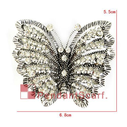 10 pz / lotto, top fashion gioielli fai da te accessori sciarpa in lega di zinco lustro strass magnete farfalla pendente di fascino, trasporto libero, ac0219