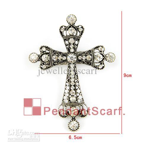 12 stks / partij populaire blauwe diy ketting sieraden sjaal voor vrouwen nieuwe stijl magneet sluiting strass cross hanger sjaal, gratis verzending, SC0017S