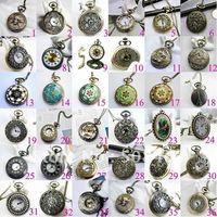 Wholesale Pocket Watch 47mm - Free ship 30pcs lot big 47mm mixed design Fashion Bronze tower pendant Women Mens pocket watch Free Long Necklace Gift