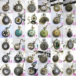 Wholesale Mix Mens Necklace - Free ship 30pcs lot big 47mm mixed design Fashion Bronze tower pendant Women Mens pocket watch Free Long Necklace Gift