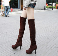 Wholesale Size Black Sexy Shoes - Hot Sale Women's Shoes Over the Knee Thigh Stretchy High Heels Boot Four Size Black Brown Sexy