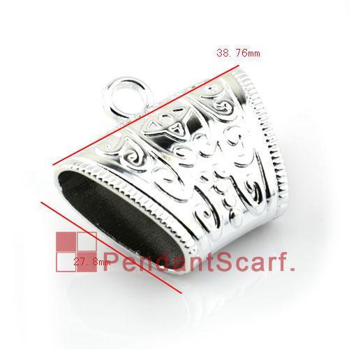 / Top Qualité Bijoux Écharpe Pendentif Accessoires Shine Argent En Plastique CCB Slide Holding Tube Bails, Livraison Gratuite, AC0107