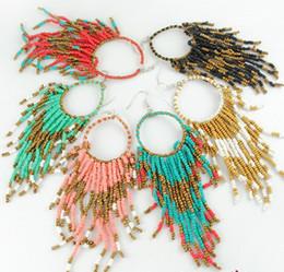 Wholesale Bead Hoop Earring - 2013 New Vintage Ethnic Bosnian Beads Tassel Earring Hoop Earrings Punk Jewelry ZM1