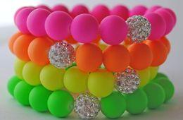 Wholesale Colored Crystal Bead Bracelets - Shamballa bracelet neon beads stretch bracelet disco crystal clay ball bracelets top fashion handmade candy colored bracelet hot sale