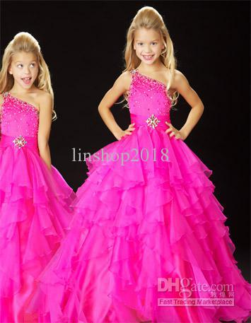 IN STOCK Hot New !One Shoulder Hot pink Little Girl`s Pageant Dress Flower Girl Dress Stock Size 6.8.10.12