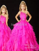rosa quente menina vestidos venda por atacado-EM ESTOQUE Hot New! Um ombro Hot Pink Little Girl's Pageant Dress Flower Girl Dress tamanho de ações 6.8.10.12