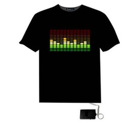 Wholesale led t shirt wholesale - EL T-Shirt Sound Activated Flashing T Shirt Light Up Down Music Party Equalizer LED T-Shirt it is fantastic free shipping