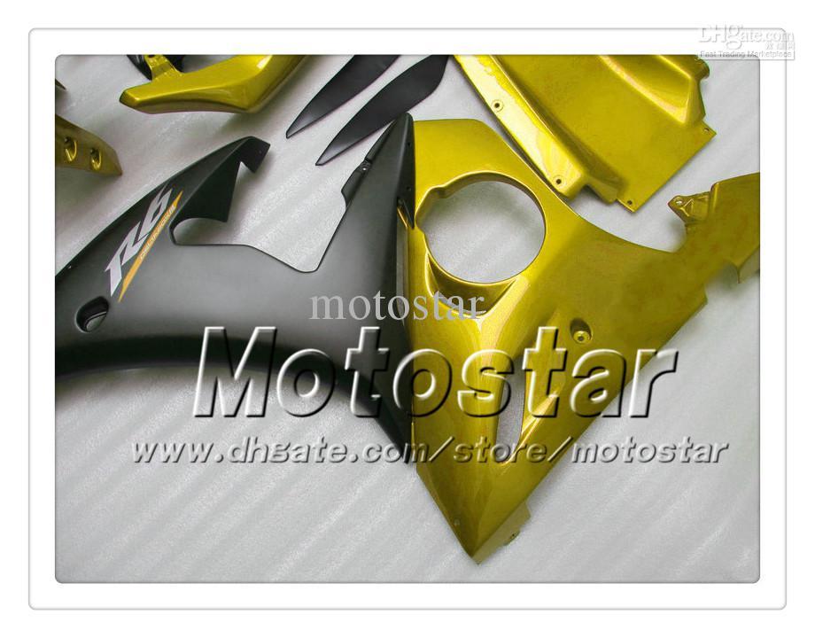7 Geschenken Fairing Kit voor Yamaha 2003 2004 YZF-R6 03 04 YZFR6 YZF R6 YZF600 Black Glod Falings Set OO15