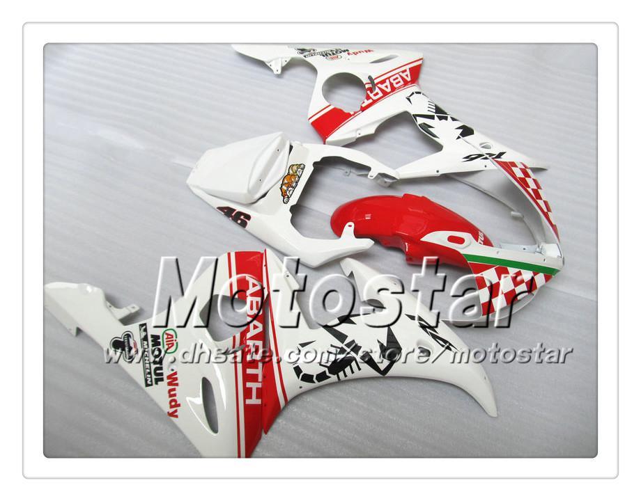 Kit de carenagem 7 Presentes para YAMAHA 2003 2004 YZF-R6 03 04 YZFR6 YZF R6 YZF600 vermelho nas carenagens brancas OO18