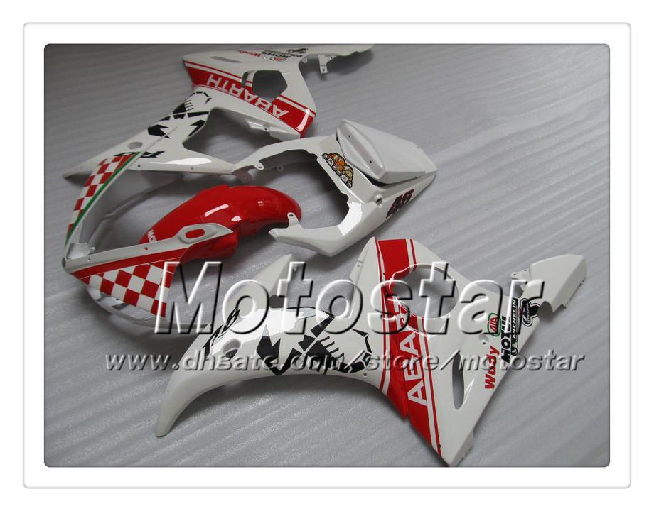 7 Geschenken Fairing Kit voor Yamaha 2003 2004 YZF-R6 03 04 YZFR6 YZF R6 YZF600 rood in witte kluizen Set OO18