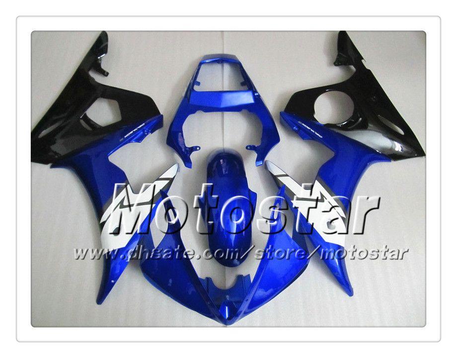 Kit de carenagem 7 Presentes para YAMAHA 2003 2004 YZF-R6 03 04 YZFR6 YZF R6 YZF600 carenagem preto azul brilhante corpo OO34