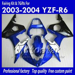 Yamaha yzf body kit online-7 Kit de carenado de regalos para YAMAHA 2003 2004 YZF-R6 03 04 YZFR6 YZF R6 YZF600 Carenados negro azul brillante trabajo corporal OO34