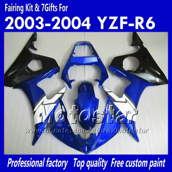7 kit carenatura regali per YAMAHA 2003 2004 YZF-R6 03 04 YZFR6 YZF R6 YZF600 carenatura nera blu lucida carrozzeria OO34