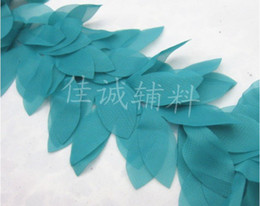 "Wholesale Beautiful Trim - Blue 5 yard 4.7"" beautiful Flower Leaf Shape Lace Chiffon Fabric Trim DIY Bridal wedding Doll More Colors"