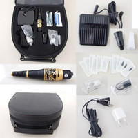 Wholesale Case For Tattoo Machine - Hot Sale High Quality Permanent Makeup Kits Golden Machine Needles Tips Case Caps & Footswitch For Eyebrow Tattooing