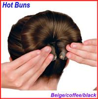 Wholesale Extensions Buns - Buns Hair Extension Magic Sponge Roller Maker 100set Lot 3colors
