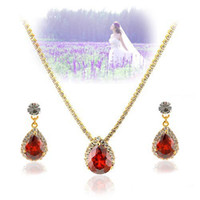 Wholesale earings color diamond - red color diamond crystal heart necklace earings jewelry