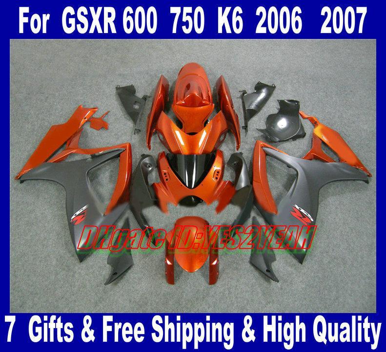 Fairing Kit voor 2006 2007 Suzuki GSXR600 750 GSXR 600 GSXR750 K6 06 07 GSXR 750 Orange Black Backings Carrosserie MN29