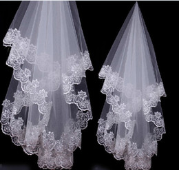Wholesale Ivory Floral Veils - 1.5 meters Fancy One-Tier white and Ivory Floral Edge Wedding Bridal Veils