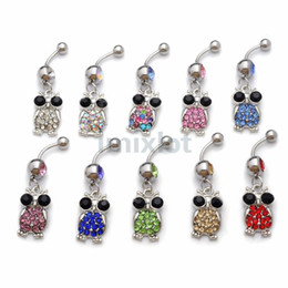 Wholesale Crystal Owl Ring - Body Piercing Jewelery Owl Dangle Rhinestone Crystal 316L Steel Belly Bar Navel Ring Navel Belly Body Jewelry 20Pcs [BB138(10)*2]
