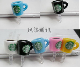 Wholesale Iphone Starbucks Dust Caps - Starbucks Cup coffee Earphone Jack Dustproof Ear Cap Plug Anti-dust Stopper for iphone 4 4S 5G