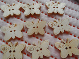 Wholesale Sewing Buttons 17mm - Free shipping!200pcs lot 23*17mm Cartoon butterfly natural wood buttons ,Kids cartoon DIY sewing scrapbook Cardmaking